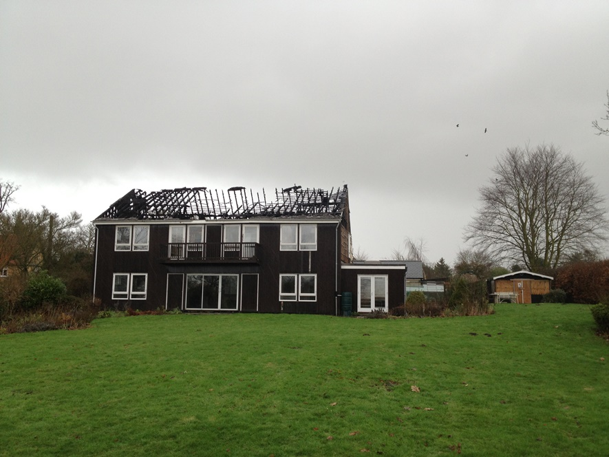 Rebuilding of existing dwelling damaged by fire - before