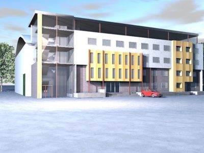 2nd 3rd & 4th floor vertical extension to an office building and a rear replacement warehouse, Sudbury, Suffolk.