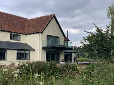 Replacement of 1960's bungalow with a large 2 storey dwelling in a stunning setting. Little Cornard, Suffolk.