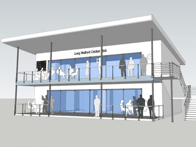 Schematic design for a new club house and pavilion for a local Cricket club.